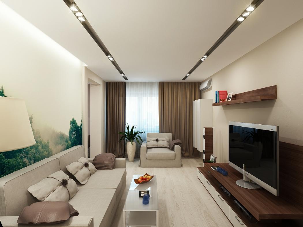 Минимализм в маленькой гостиной