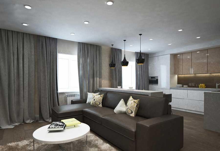 Шторы металлического оттенка в в современном интерьере гостиной в стиле хай тек