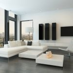 minimalist home designs 2015 minimalist living room interior leather sofa twin square tables 1
