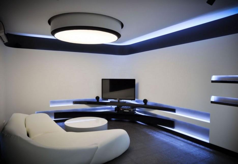 Угловая тумба под телевизор в стиле хай-тек с подсветкой