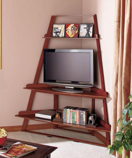 Угловая тумба под телевизор в стиле минимализм с открытыми полками