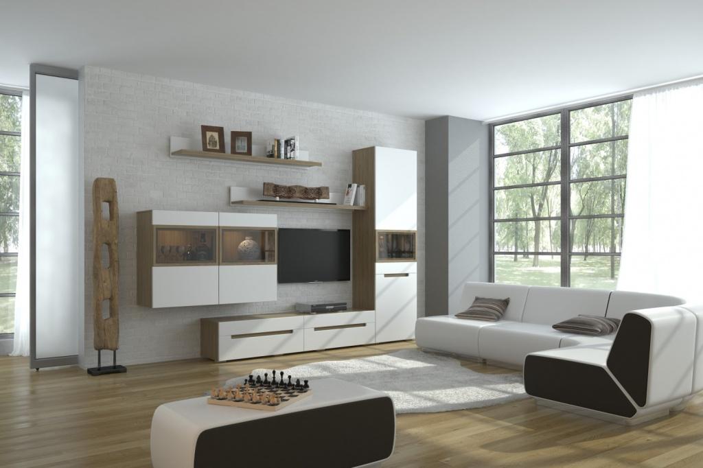 Модульная стенка в гостиной