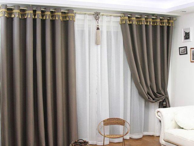 Оформление штор в стиле модерн с тюлем в современном стиле