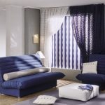 modern curtains for living room in white blue colors