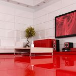 modern elegant design of the livingroom tile floor ideas that has red modern floor can be decor with elegant white ceramics wall can add the beauty inside the modern living room design ideas living fl