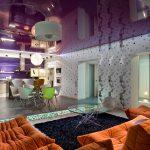 modern living room design purple stretch ceiling