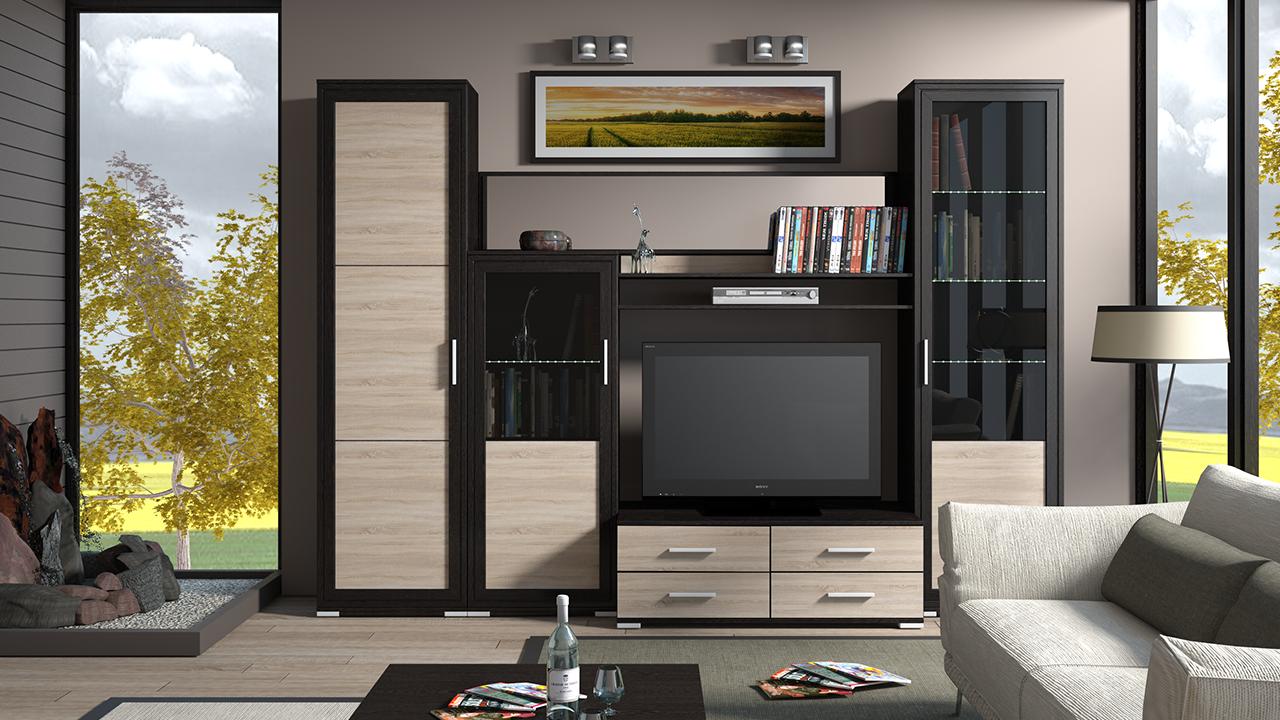 Модульная стенка в гостиной в современном стиле