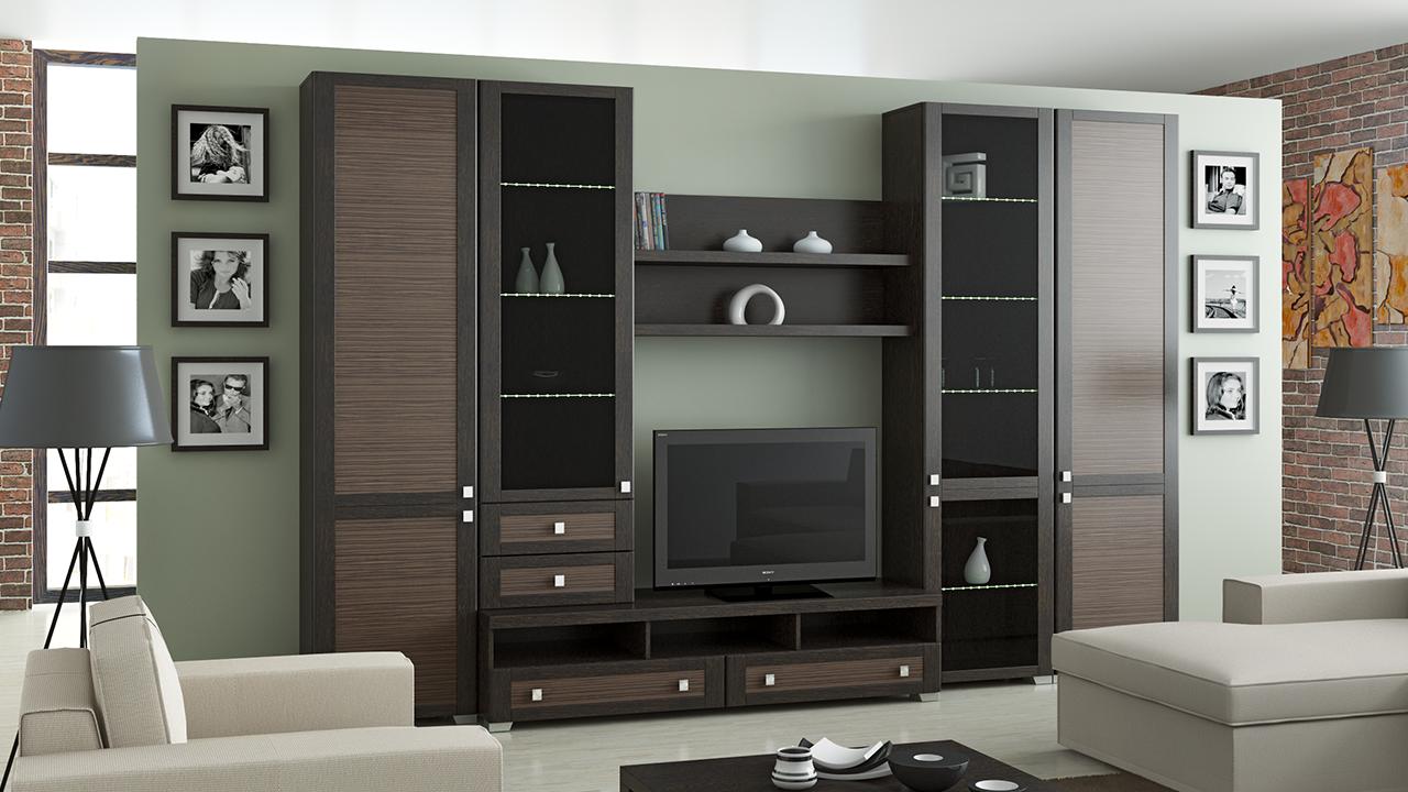 Функциональность модульной стенки в гостиную