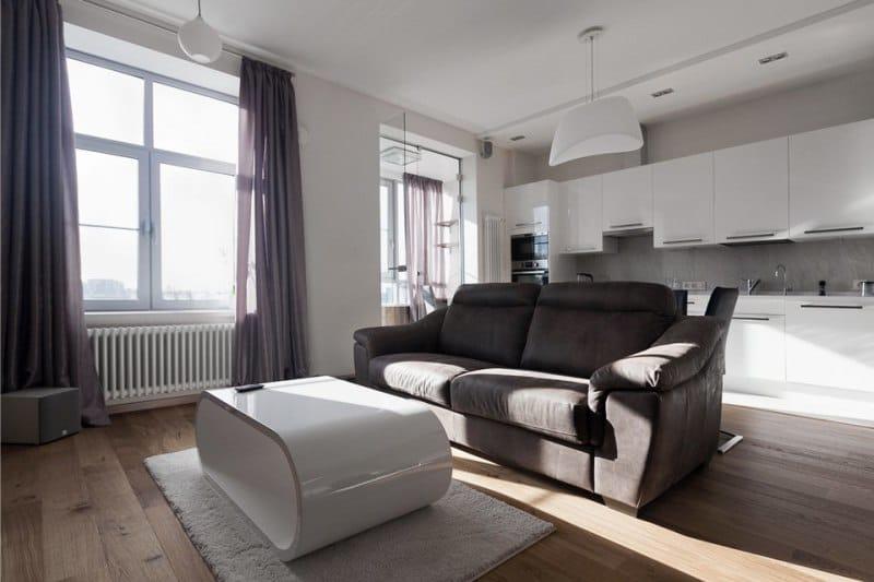 Монохромные шторы в гостиной в стиле минимализм