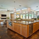 nice living kitchen dining room with concrete floors and open airy kitchen dining living room layouts