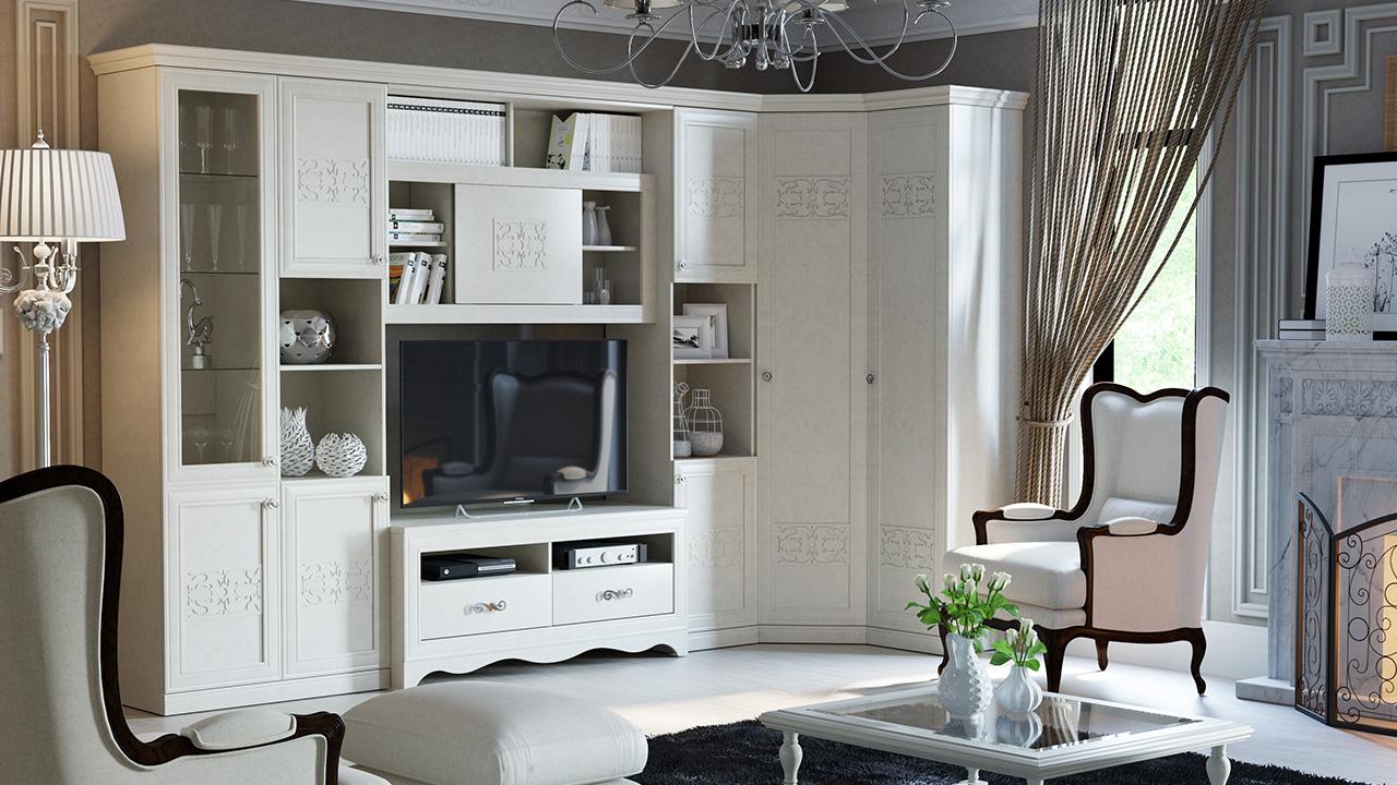 Стенка в гостиной со шкафом для одежды в стиле прованс