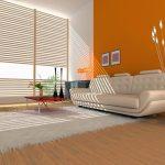 orange living room design white sofa in minimalism style