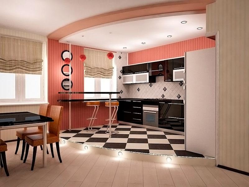 Разделение интерьера кухни - гостиной при помощи подиума