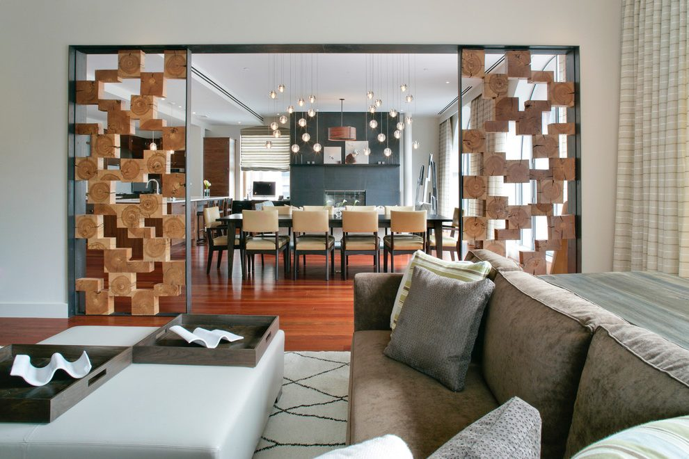 Перегородка между кухней и гостиной в интерьере