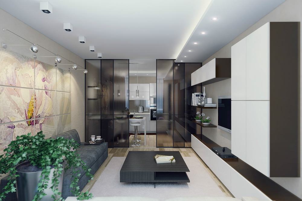 Зонирование кухни гостиной при помощи стеклянной перегородки