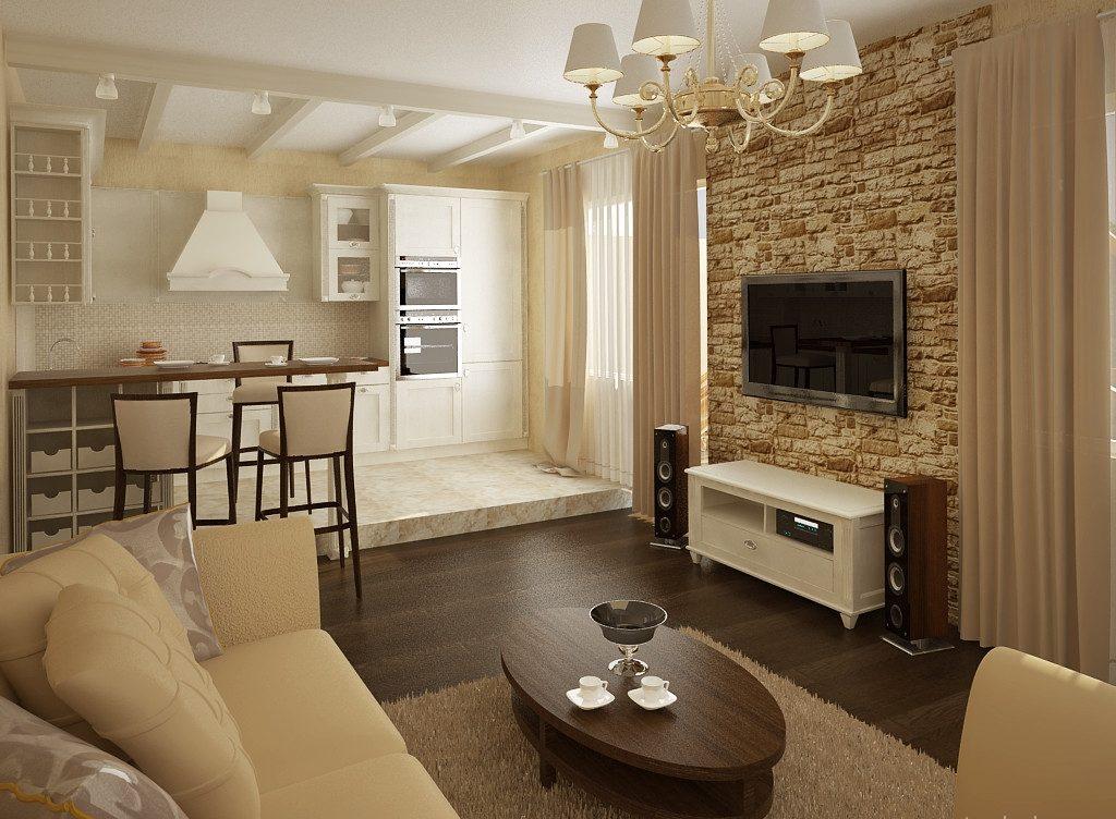 Дизайн кухни, совмещенной с гостиной, без несущей стены