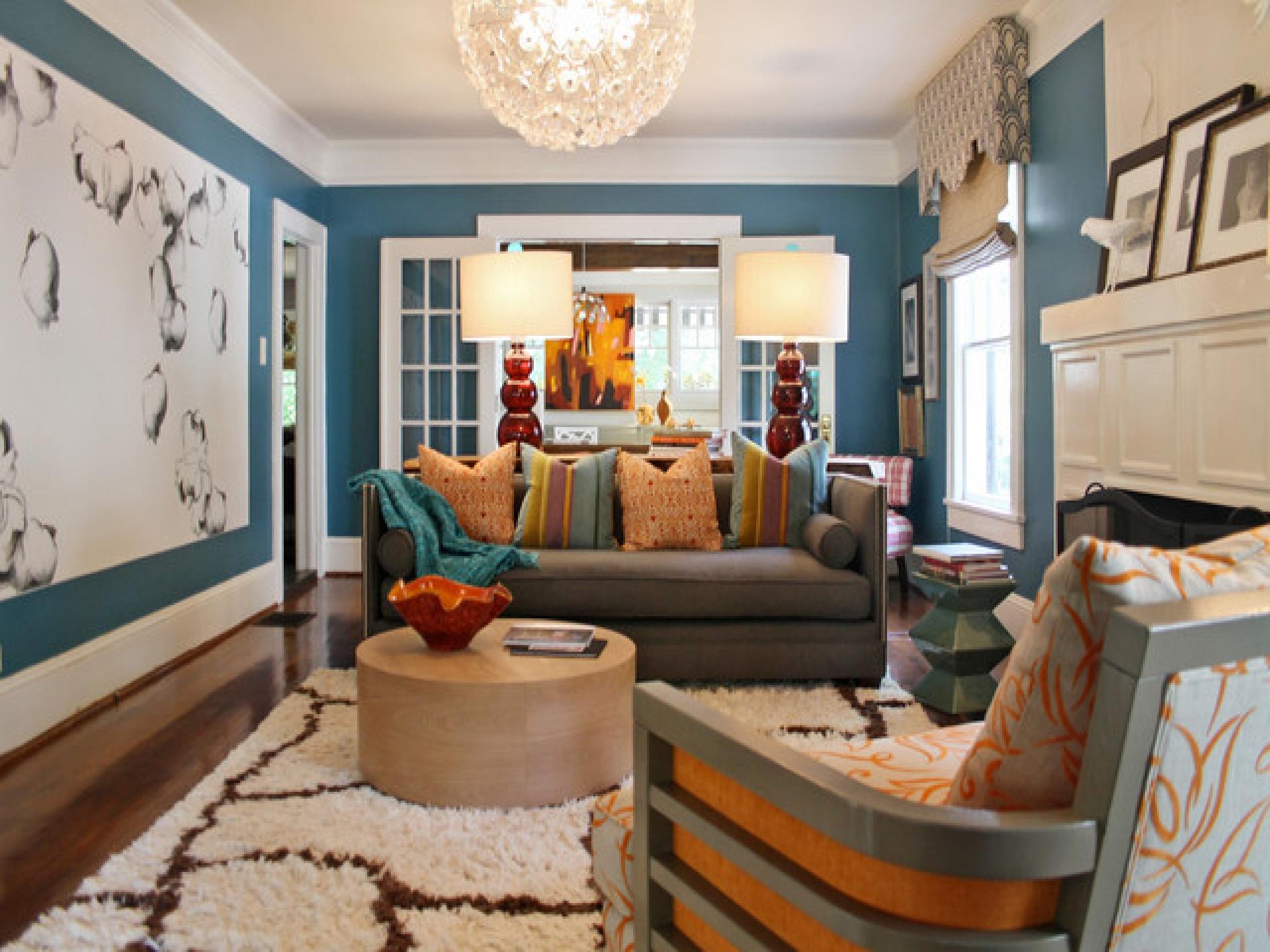 Wohnzimmer blau gold