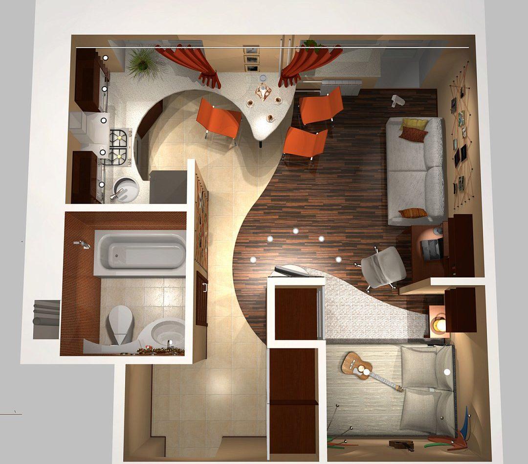 Дизайн кухни - гостиной в квартире 20 кв м
