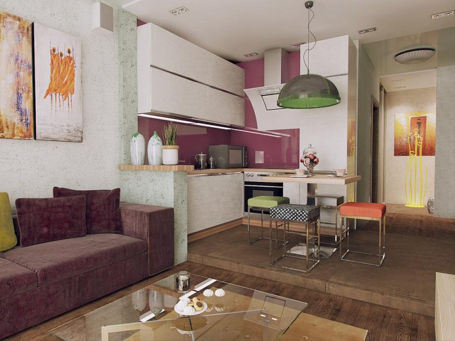 Выделение кухни с помощью подиума в гостиной