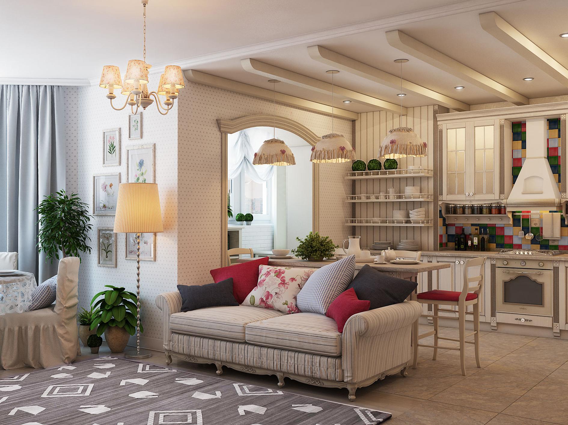 Кухня - гостиная в стиле прованс в комнате 20 кв м