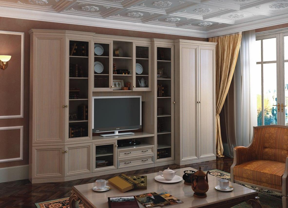 Прямоугольная модульная стенка в гостиную