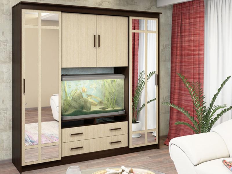 Корпусная стенка с распашными и выдвижными ящиками для гостиной