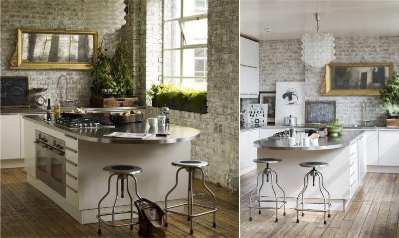Растения в гостиной, совмещенной с кухней