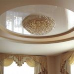 round PVC stretch ceiling for classic luxury living room 1