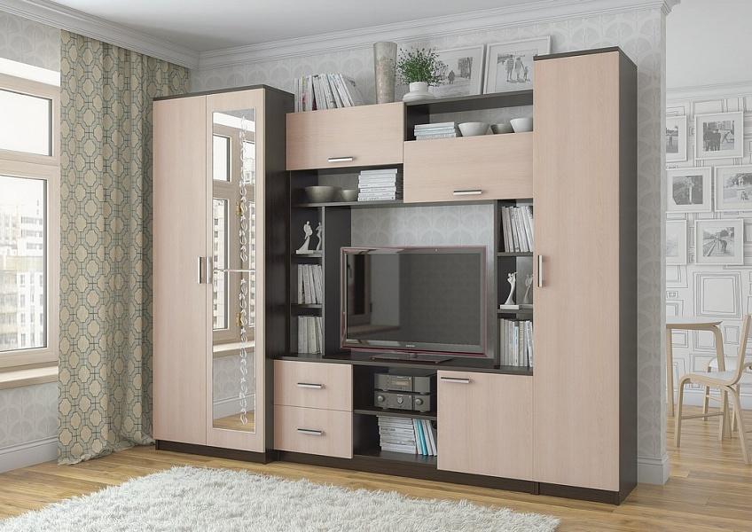 Стенка в гостиную со шкафом для одежды с зеркалом