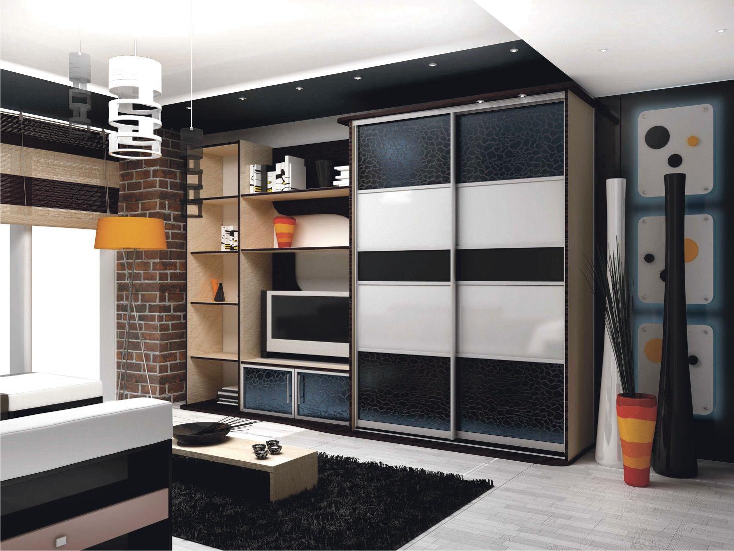 Шкаф - купе для одежды в гостиную со стенкой