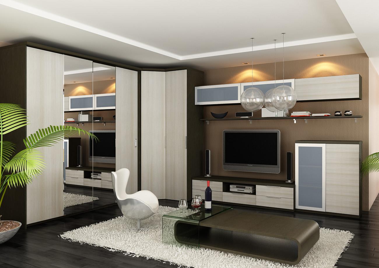 Стенка в гостиную в современном стиле: фото, комплектация, д.