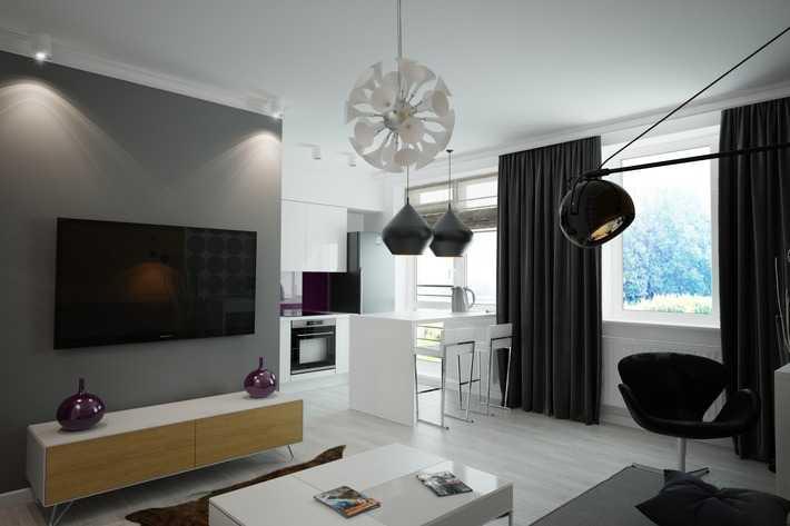 Простые формы штор для гостиной в современном стиле хай тек