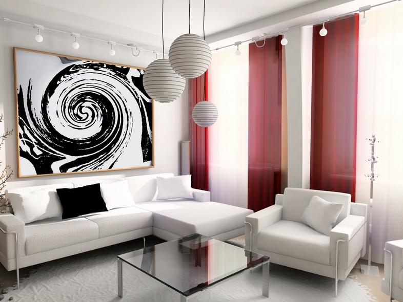 Яркие шторы простой формы в качестве акцента в интерьере гостиной в стиле хай - тек