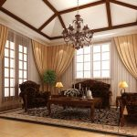 soft brown living room curtain with rails and tie with glass windows and glass door with wooden frame and living room classic living room with brown wooden sofa couch and wooden coffee table rug 1