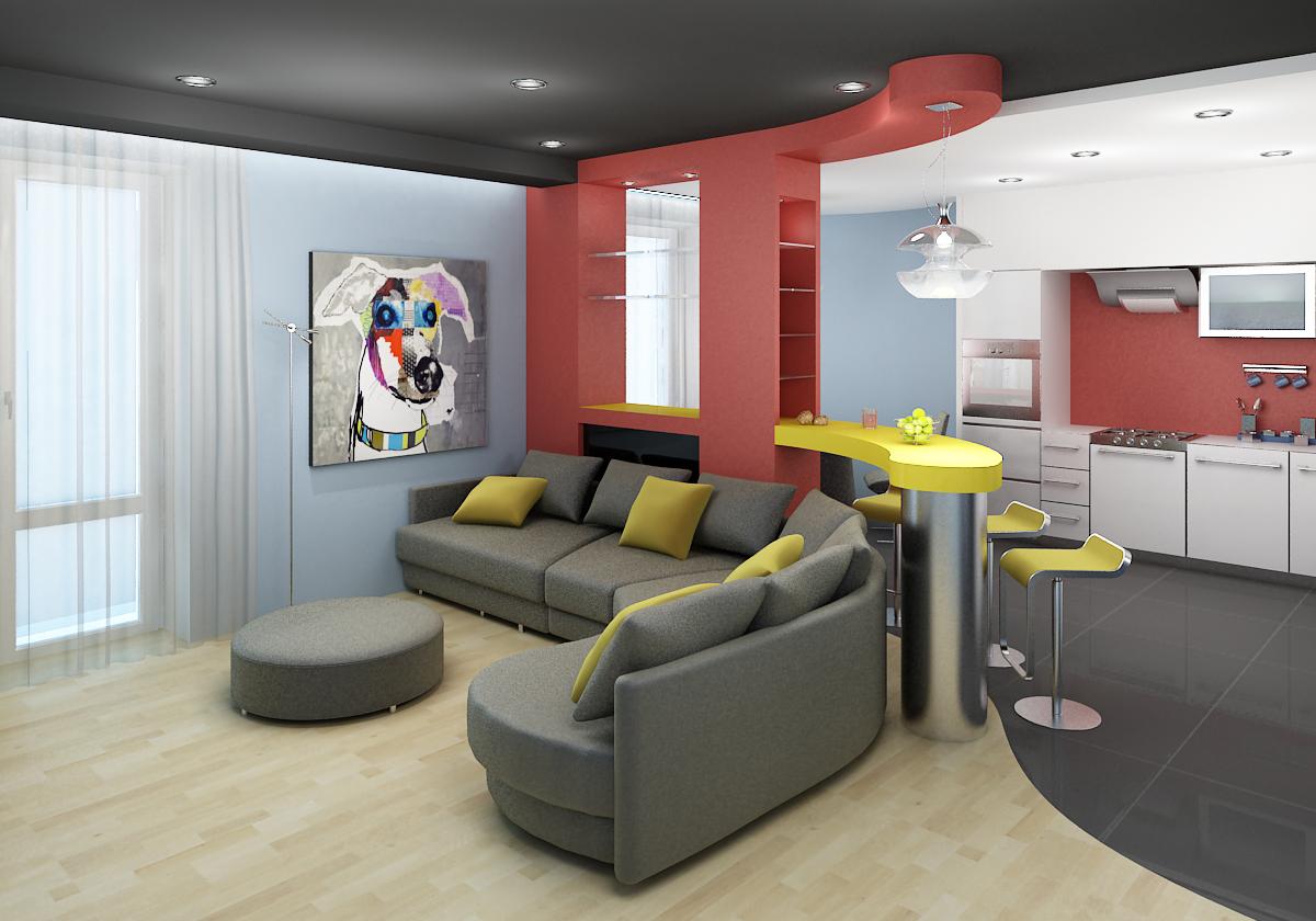 Дизайн гостиной совместно с кухней в квартире