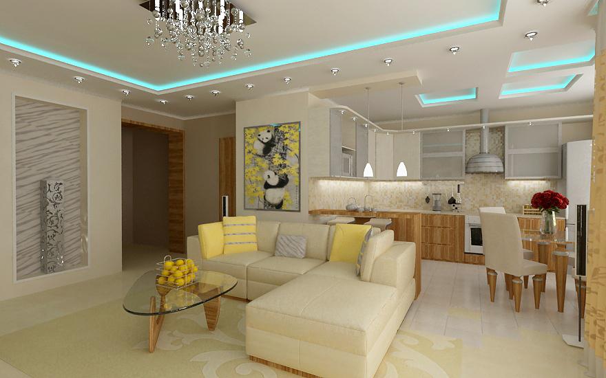 Расширение кухни, совмещенной с гостиной