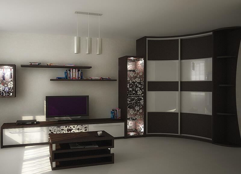 Стенка с угловым шкафом-купе для одежды в гостиной