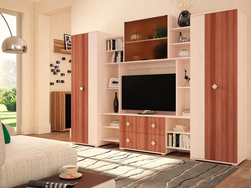 Модульная стенка в гостиной в спокойных тонах