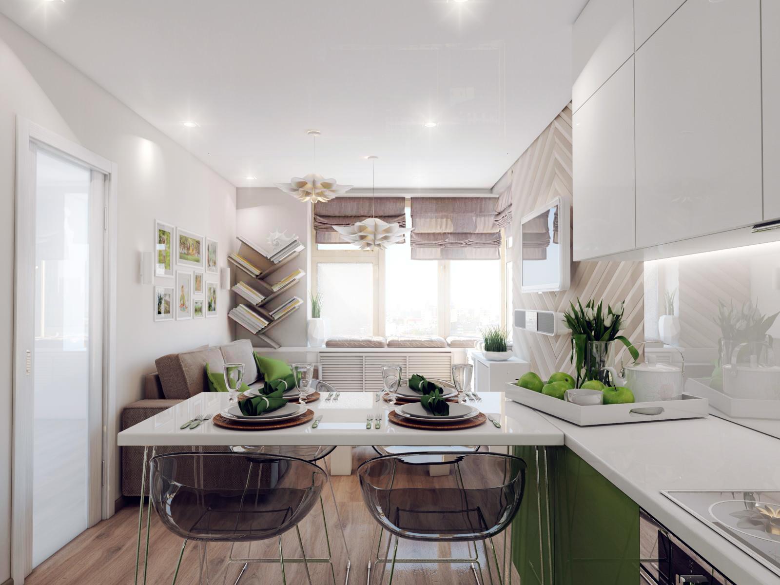 Разделение кухни и гостиной при помощи стола