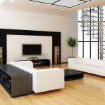 stylish black and white living room wall unit in chic living room design with white upholstered long sofa face each other and flat black finish coffee table as well as wall unit ideas also white wall