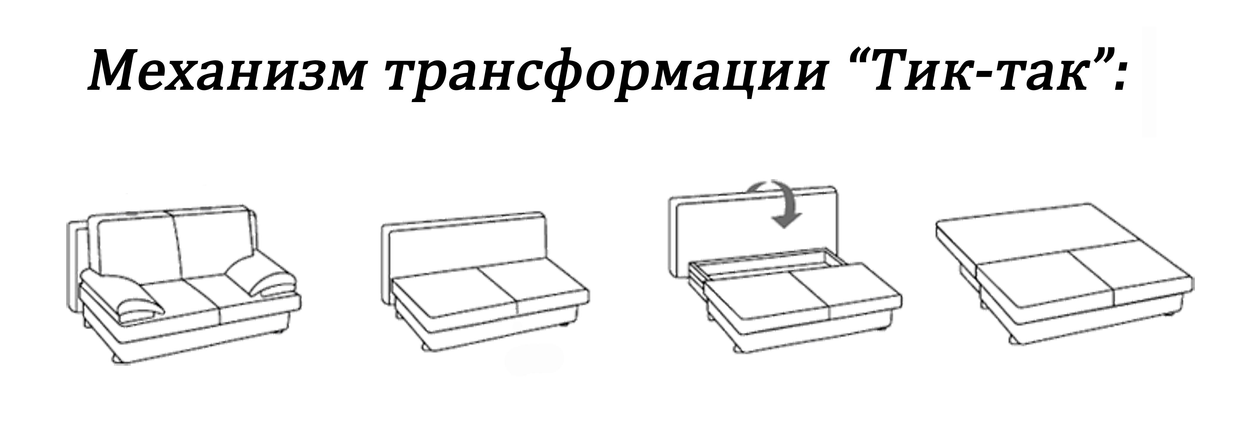 Схема механизма Тик -Так для трансформации дивана в спальное место