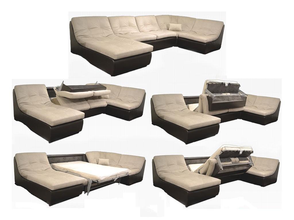 Пример трансформации модульного дивана с раскладным механизмом