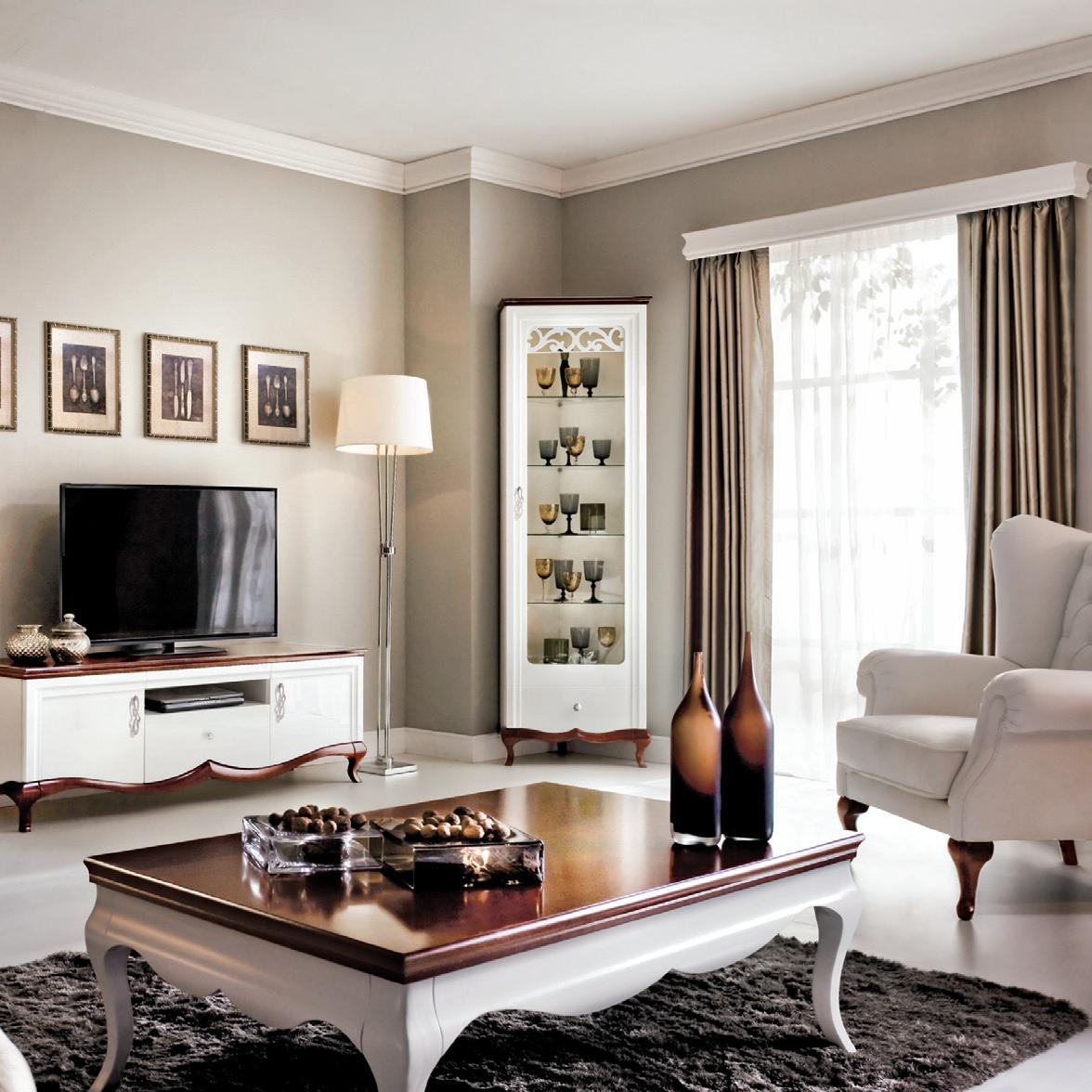 Угловая витрина для гостиной под стиль интерьера