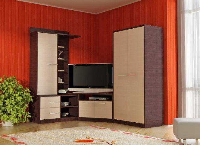 Угловая модульная стенка в гостиную