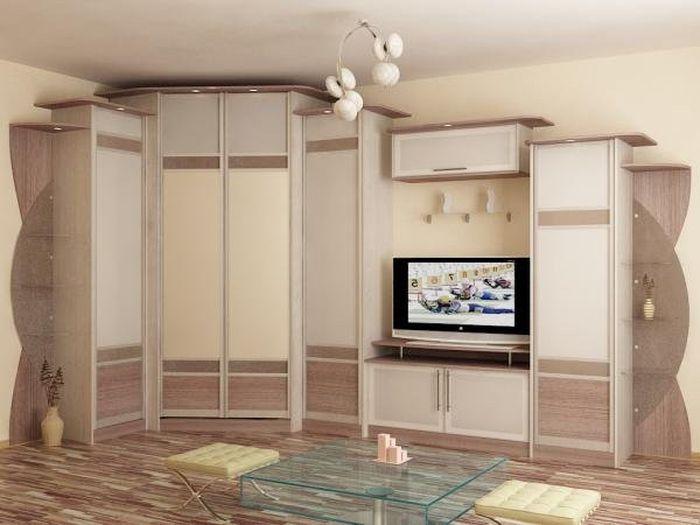 Угловой диагональный шкаф - купе для гостиной