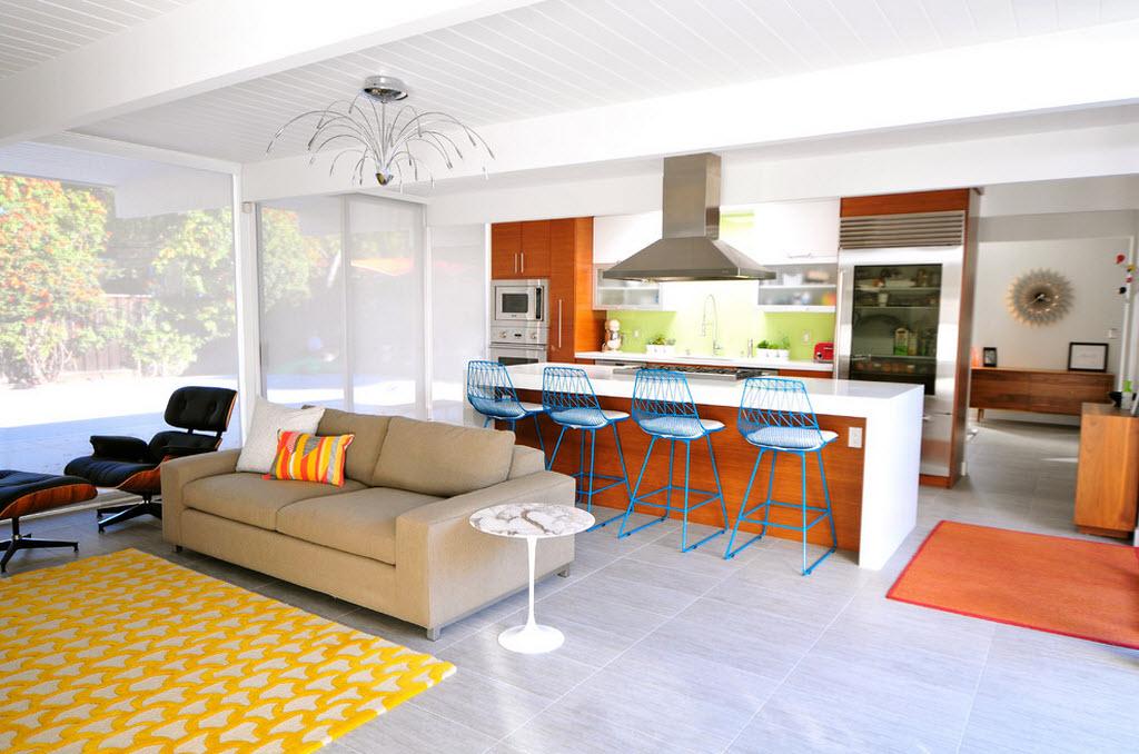 Фото кухни совмещенной с гостиной с вытяжкой