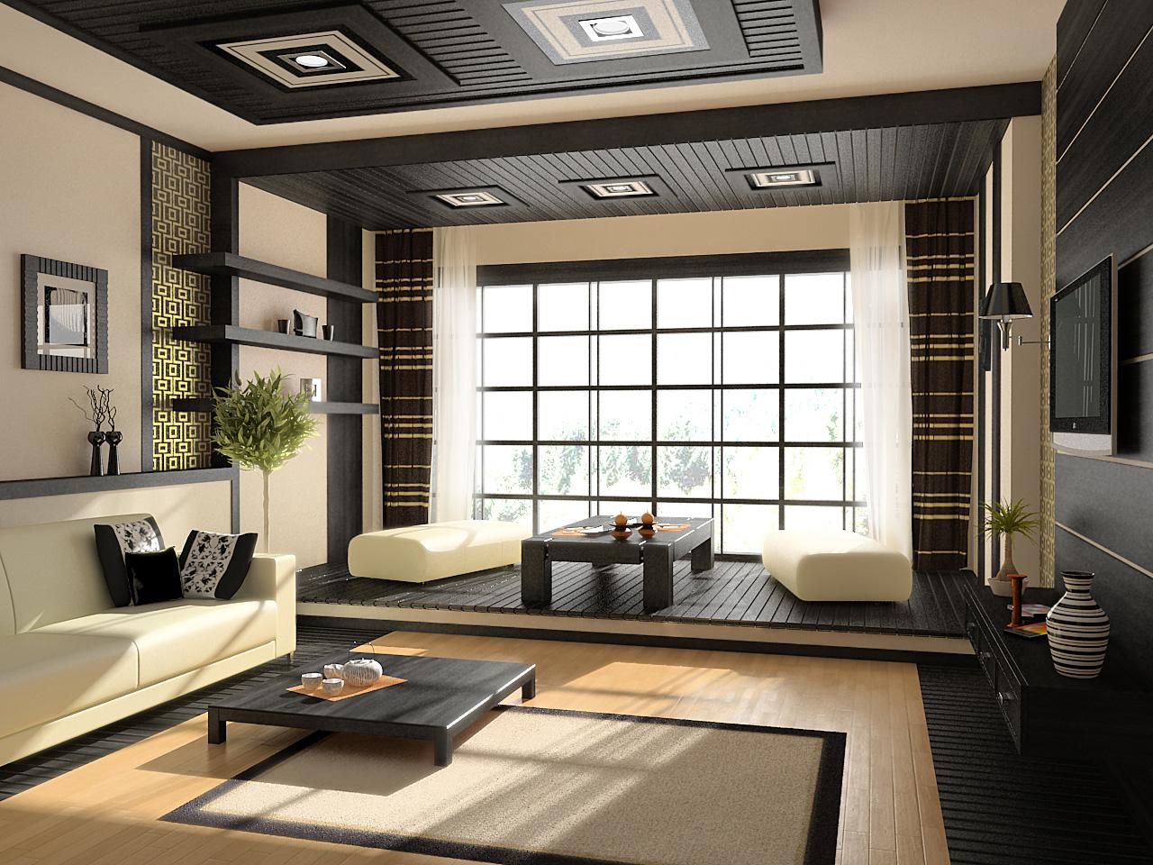 Гостиная в стиле японского минимализма