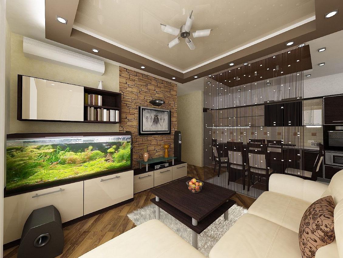 Зонирование кухни и гостиной при помощи перегородки в виде шторы