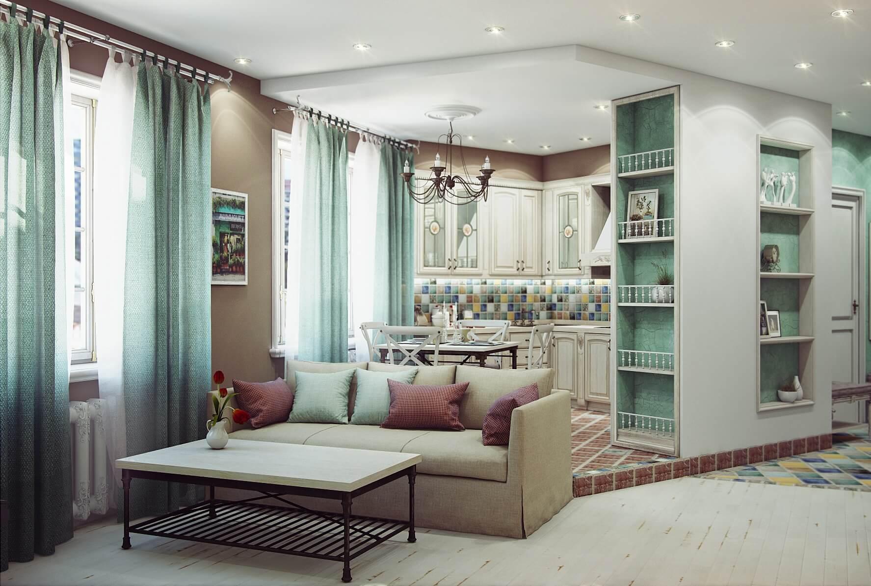 Выделение кухни гостиной при помощи подиума, потолка и гарнитура