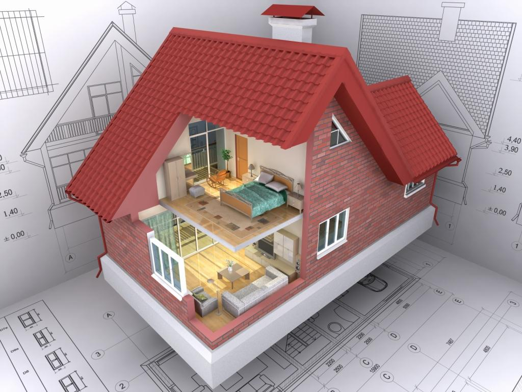 3D isometric view the residential house on architect